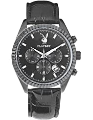 Playboy CHRS44LBB - Reloj cronógrafo de cuarzo para hombre, correa de cuero color negro (cronómetro)