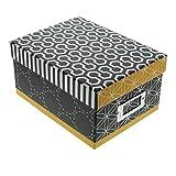 Goldbuch Fotobox, Off-line, 22 x 16,6 x 11,2cm, Für 700 Fotos im Format 10x15 cm, Mit 8 Registerkarten, Kunstdruck mit Leinenoptik, Schwarz/Weiß/Gelb, 85710