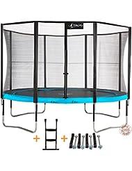 Kangui - Trampoline de jardin 365 cm + filet de sécurité + échelle + kit d'ancrage PUNCHI ATOLL 360