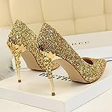 Xue Qiqi Leder Silber Spitze des high-heel Schuhe fein mit Farbverlauf einzelne Schuhe weiblichen goldenen Hochzeit Schuhe, 37, Gold