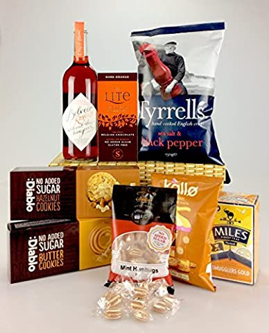 Deluxe Large Diabetic HAMPER Box No Added Sugar - Chardonnay Rose' Non Alcoholic Wine Any Occasion Personalise
