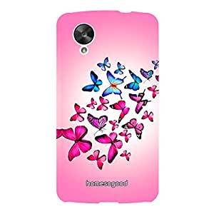 HomeSoGood Colorful Flying Butterflies Pink 3D Mobile Case For LG Nexus 5 (Back Cover)