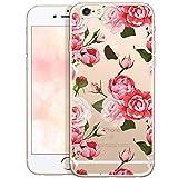 OOH!COLOR Bumper Compatible pour iPhone 6S Plus, Coque iPhone 6 Plus Silicone Fleur Transparent Souple Etui Soft Case Ultra Slim Fine Cover avec Motif Roses Emballage JETABLE
