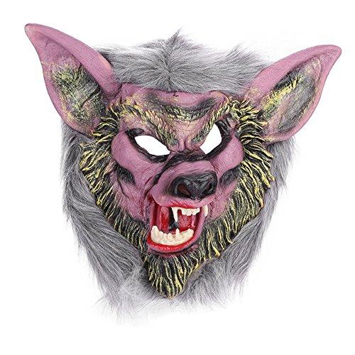 (Halloween Maske Wolf mit Zahn Wolfmaske Horror Böse Maske Wolf Ganzkopf für Erwachsene Damen Herren Halloween Maske Wolf für Halloween Kostümparty Cosplay Fasching Werwolf Maske (werwolf handschuhe))