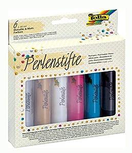 Folia Perla lápices Set, 6x 30ml, varios colores 36019 , Modelos/colores Surtidos, 1 Unidad