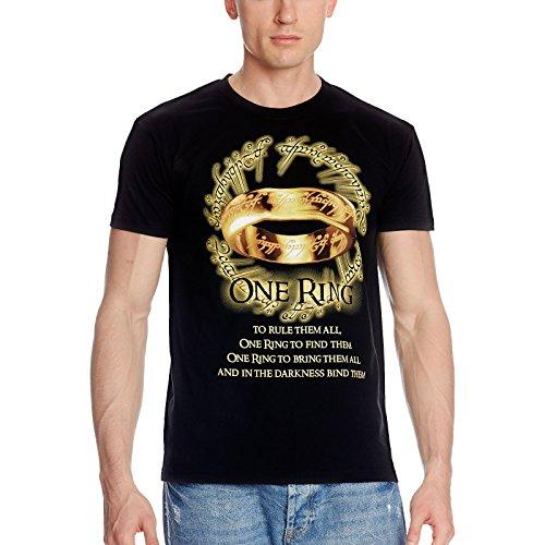 Der Eine Ring T-Shirt zu Herr der Ringe und Hobbit für Mittelerde Tolkien Fans schwarz - XXL
