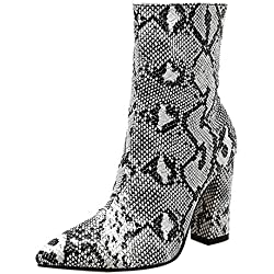 LuckyGirls Botas Moteras Zapatos de Tacón para Mujer Patrón de Piel de Serpiente Moda Sexy Botitas 9cm