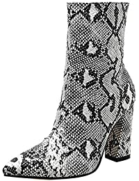 OHQ Botas Mujer Modelo De Piel De Serpiente Dedo del Pie Cremallera Botas Gruesas Puntiagudas Zapatos Botas Zapatos Altos