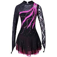 Heart&M Vestido de patinaje artístico Vestido de patinaje sobre hielo para mujer y niña Competencia de rendimiento Vestido de patinaje artístico sobre puntillas Rhinestone negro , 6