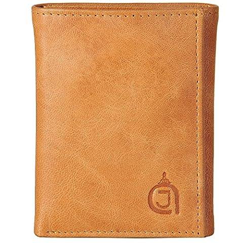 AzraJamil Tan & Black Twin Colour Premium Finished Tri-Fold Leather Wallet (Ohio Vintage-note)
