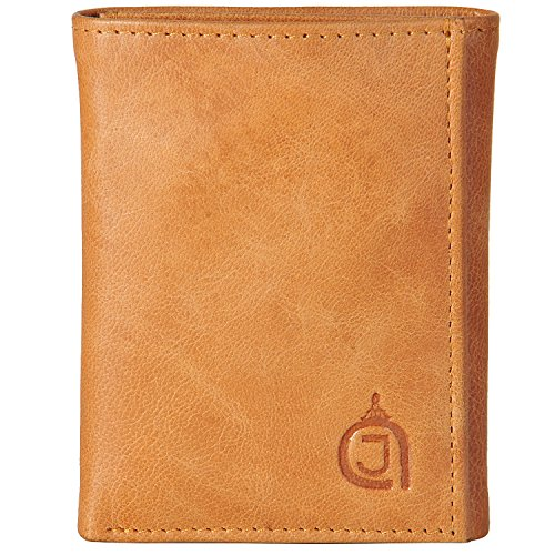 AzraJamil Tan & Black Twin Colour Premium Finished Tri-Fold Leather Wallet (Wallet Passport Tumi)