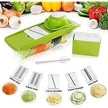 Lifewit Mandolina Affettatrice Multifunzionale Affetta-Frutta e Verdura 5 Impostazioni in Acciaio Indossabile con Coltello Contenitore da Alimentazione