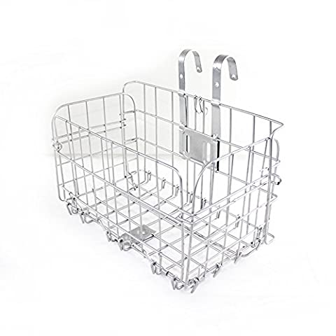 Finer Shop Folding Metal Wire Bicycle Front Handlebar Storage Basket Bike Cargo Rack Cycling Mountain Road Bike MTB Accessories - Silver