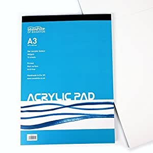 A3 Acrylic Painting Pad - 360 gsm - 15 Sheets Primed Matt Surface - Acid Free - Ideal for Students and Professional Artists