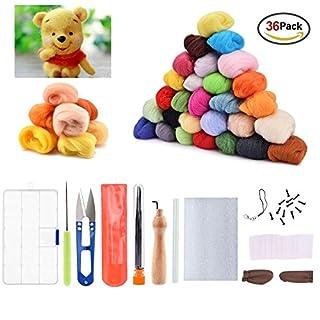 AUSHEN Needle Felting Kit for Beginners Wool Felting Set Fibre Wool Yarn Roving Kits for DIY Craft with 36 Colors Felting Wool