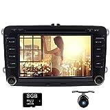 Doppel Din GPS Auto Stereo CD DVD Player mit Touchscreen für VW Golf Skoda Passat Seat Jetta Polo–Unterstützt GPS, USB SD, SWC, Aux, iPod, Canbus, Hinten Kamera Parkplatz Sensor (mit 8GB SD Karte)