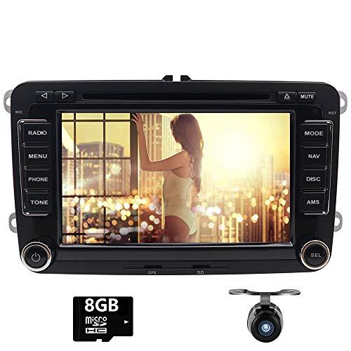 Doppel Din GPS Auto Stereo CD DVD Player mit Touchscreen für VW Golf Skoda Passat Seat Jetta Polo-Unterstützt GPS, USB SD, SWC, Aux, iPod, Canbus, Hinten Kamera Parkplatz Sensor (mit 8GB SD Karte) -