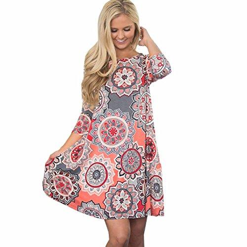 OVERDOSE Damen Sommerkleid Vintage Boho Maxikleid Abendkleid Party Strand Blumenkleid Sundress Minidress Casual Blusenkleid ()