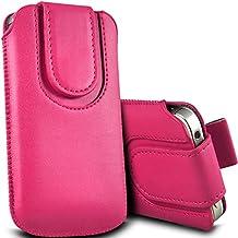 Color rosa de piel sintética con pestaña con tapa magnética para Huawei Ascend Y300por Digi Pig