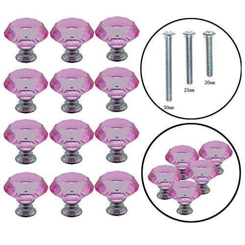 Yuyikes Pomo tirador con forma de diamante de cristal de 30 mm, 12 piezas, para cajón, cómoda, arcón, aparador, armario,rosado
