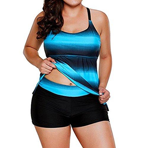 Preisvergleich Produktbild Malloom® Frauen Plus Size Gradient Tankini Bikini Bademode Badeanzug Badeanzug Große Taille Taille konservativen Gradienten Bademode
