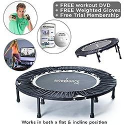 Mini trampoline pliable avec inclinaison réglable HIIT BOUNCE PROLivré avec DVD d'exercices de rebond à haute valeur énergétique et entrainements inclinés