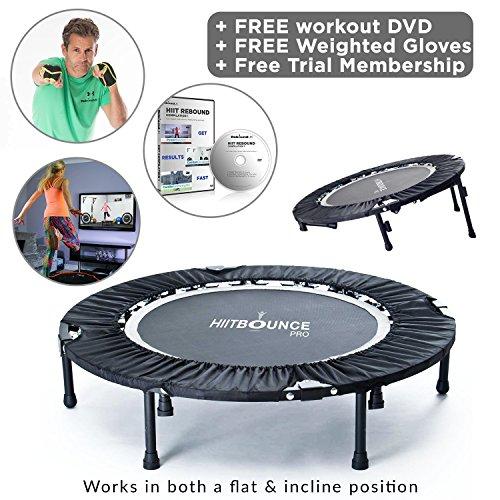 Hiit Bounce Pro Mini cama elástica plegable con inclinación ajustableIncluye DVD con una compilación de rebotes de alta energía y entrenamiento de inclinación, guantes con peso y suscripción online con más de 100 increíbles entrenamientos de rebote.