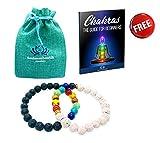 Smimouboutik Chakra Armband [2 PCS] Gratis: Schmuckbeutel und Buch Chakras - Für Alle Handgelenke in Schwarze & Weiße Lavaperlen und Onyx 8 mm - Ideal für Meditation, Yoga, Aromatherapie & Reiki