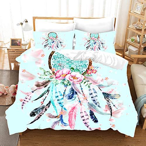 MOUMOUHOME Mädchen Traumfang Bettbezug-Set mit Reißverschluss,3D Druck Regenbogen Traumfang Blumen Tagesdecke Blau Bettwäsche Set,1 Bettbezug 2 Kissenbezug 100% Mikrofaser -