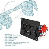 Lorenlli Professionelle 5 Gang ON-OFF-Kippschalter Bedienfeld mit Digital Voltmeter 2 USB-Ladegerät 12 V für Auto Marine Boat