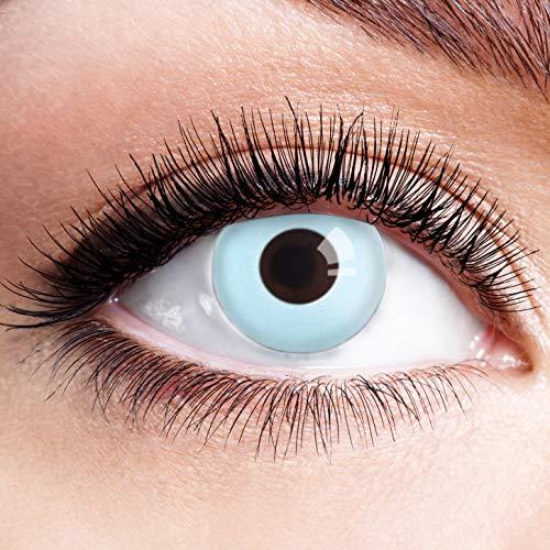 Farbige Kontaktlinsen Blau Ohne Stärke Blaue Crazy Jahreslinsen Motiv Linsen Farbig Halloween Karneval Fasching Cosplay Kostüm Light Ice Blue Sky Weiß Hellblau M13 (Ice Dämon Kostüm)