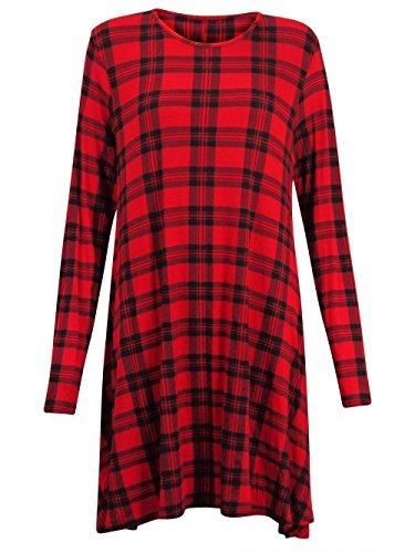 New da donna a maniche lunghe con stampa scozzese, a zampa di elefante, motivo a scacchi, a maniche lunghe, donna, taglia: 8-26 Plus Red Tartan