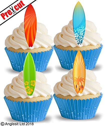 vorgeschnittenen Cool Surfboards II. essbarem Reispapier/Waffel Papier Cupcake Kuchen Dessert Topper Sport Sommer Strand Urlaub Party Geburtstag Dekorationen