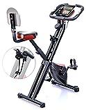 Sportstech Vélo d'appartement F-Bike X100 4-en-1 Home Trainer Vélo d'intérieur, X-Bike pour adulte, poignées avec cardiofréquencemètre, cordes de traction, support pour tablette, dossier inclinable