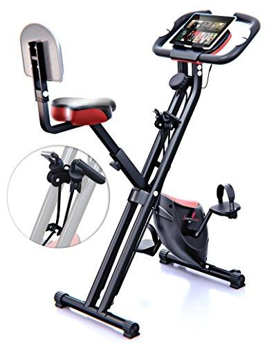 Sportstech X100 Cyclette da Casa F-Bike con Sistema Brevettato di Resistenza a fascia Inerzia 4 KG schienale Supporto per Tablet infinita variazione a doppio freno magnetico sensori palmari pieghevole (con schienale)
