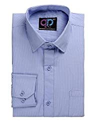 Formals by Koolpals-Cotton Blend Shirt White Vertical Stripes on Light Blue