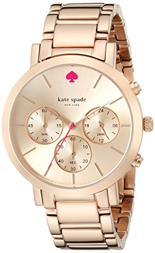 Kate Spade Women's Gold Tone Steel Bracelet & Bracelet Quartz Rose Gold-Tone Dial Watch 1YRU0716