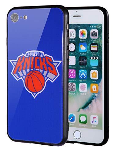 Die Masse iPhone 8Fall, iPhone 7Fall, NBA Team Logo auf gehärtetem Glas Backcover und Soft TPU Rahmen für Apple iPhone 8/7, 4.7 inch, New York Knicks - Team-logo Iphone Fall