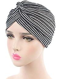 Mützen Transer® Damen Krebs Chemo Hygiene Alopezie Gold Silber Streifen Make-up Hut Falten Stretch Schal Turban Mützen