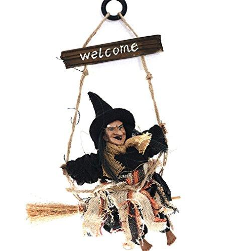 Hexe Halloween Dekorationen - Leisial 3D Halloween Puppe Wandschild Kreativ