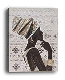 Wowdecor Art Wand Moderne Leinwand Prints Gemälde–African Beauty Girl Seite Face Art Bilder auf Leinwand Gedruckt, Wand Decor Home Living Zimmer Schlafzimmer–Gerahmt, Large