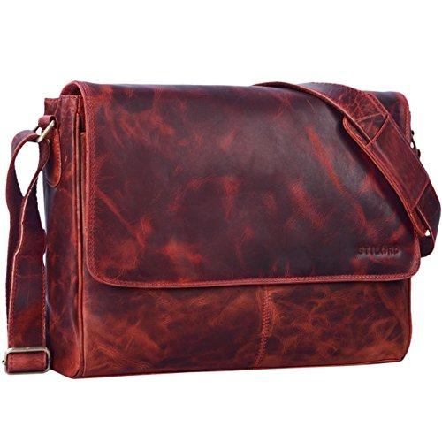 STILORD 'Oskar' Vintage Messenger Bag Uomo Donna Pelle / Borsa a Tracolla / Università Cuoio 15.6 pollici Laptop Borsa Affari e Ufficio Vera Pelle, Colore:marrone medio kara - rosso