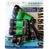 "Mitras Water Spray Gun Set For Car & Bike Cleaning Green 20mm (3/4"") With Tap Adapter Having Easy To Use Butterfly Clamp To Tighten"