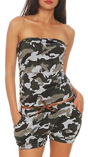 malito Damen Einteiler kurz in Unifarben   Overall mit Gürtel   schicker Jumpsuit   Romper - Playsuit - Hosenanzug 8964 (camo-grau)