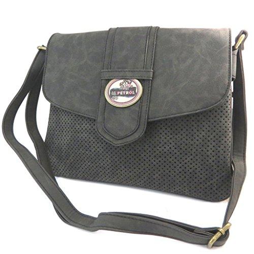 Bolsa creative 'Lili Petrol'vintage negro (2 compartimentos)- 27x10x8 cm.