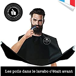 BARBMAN : Le bavoir pour se raser la barbe sans laisser de poils, cadeau ideal pour hipster barbu (Noir)