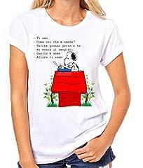 Idea Regalo - T-Shirt Donna Snoopy Ti Amo Maglietta Femminile (s, Bianco)