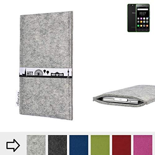 flat.design für Hisense Rock Lite Schutz Tasche Handyhülle Skyline mit Webband Wien - Maßanfertigung der Schutz Hülle Handytasche aus 100% Wollfilz (hellgrau) für Hisense Rock Lite