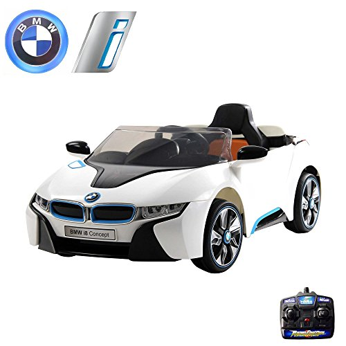 Preisvergleich Produktbild BMW i8 Vision Kinder Elektroauto Deluxe-Edition, 2.4GHz Fernbedienung, Multifunktionslenkrad, MP3-Anschluss, realistischen Soundeffekten, 12V Powerakku und 2x35W starker Motor und vieles mehr
