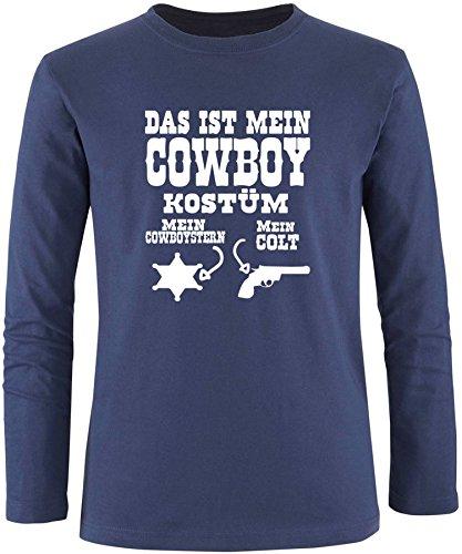Luckja Das ist mein Cowboy Kostüm Herren Longsleeve Navy/Weiß